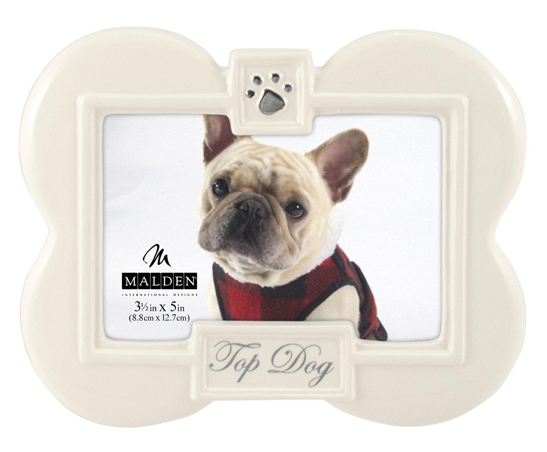 Malden International Designs Glazed Ceramic With Black ''Top Dog'' Picture Frame, 3.5x5, White