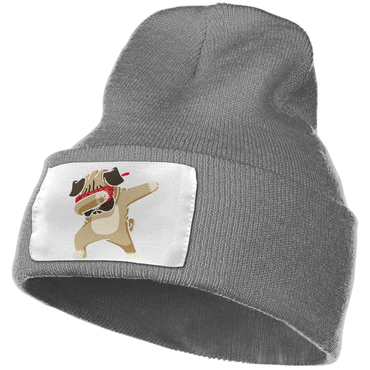 TAOMAP89 Dabbing Pug Hip Hop Women and Men Skull Caps Winter Warm Stretchy Knit Beanie Hats