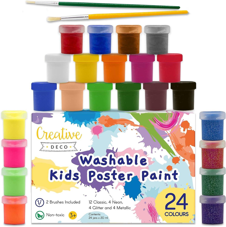 Creative Deco Temperas Pintura Lavable de Dedos Niños Bebes | 24 x 20 ml Botes | No Tóxica | Colores: Básicos Fluorescentes Brillantes Metálicos y Neón Principiantes y Artistas: Amazon.es: Hogar