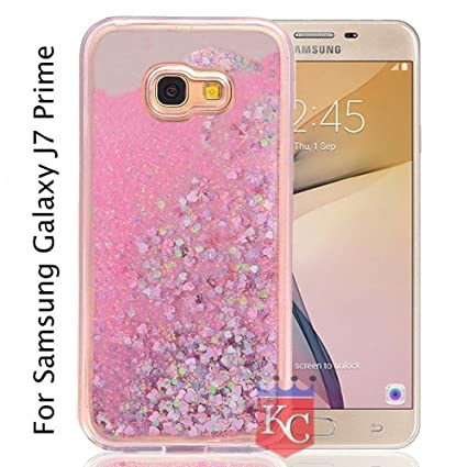 209f510c10 KC Liquid Unique Moving Hearts & Glitter Designer Girls Soft Transparent  Back Cover for Samsung Galaxy J7 Prime (Pink)