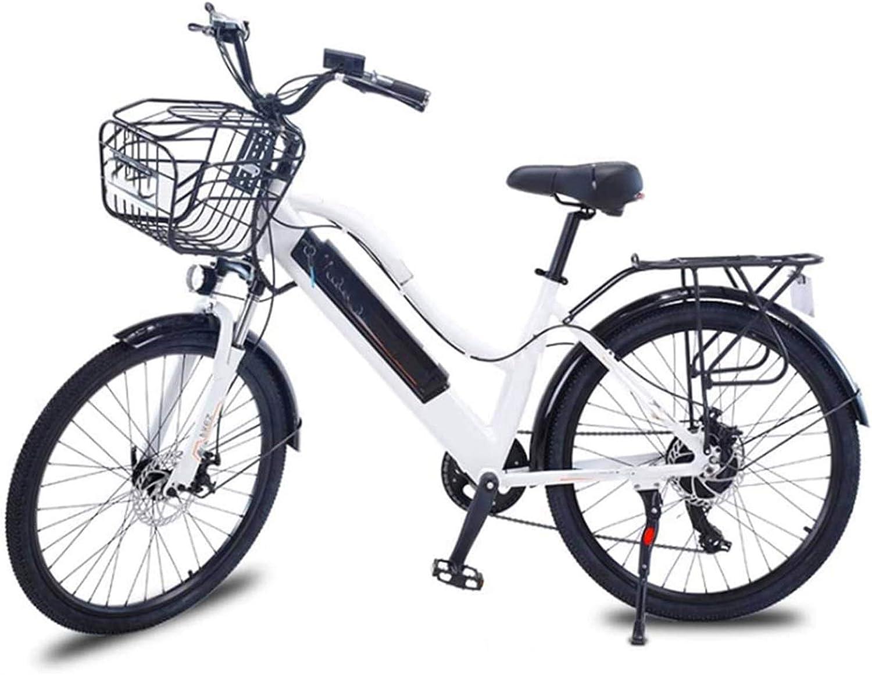 Fangfang Bicicletas Eléctricas, 26 Pulgadas Bicicletas eléctricas, Bicicletas de Aluminio allo Bicicletas 36V10A Marco Boost Adulto Mujeres for los Deportes al Aire Libre Ciclismo, Blanca,Bicicleta
