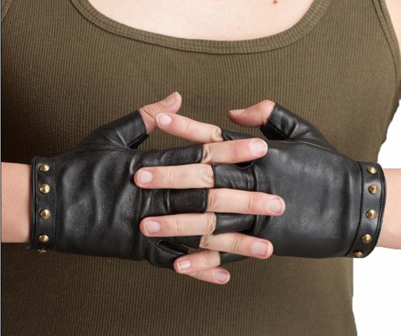 GBT Männer Frauen Lammfell Handschuhe Paar Handschuhe Kurze Halbe Finger Mode Winter Warme Mosaik Nieten Rot Schwarz
