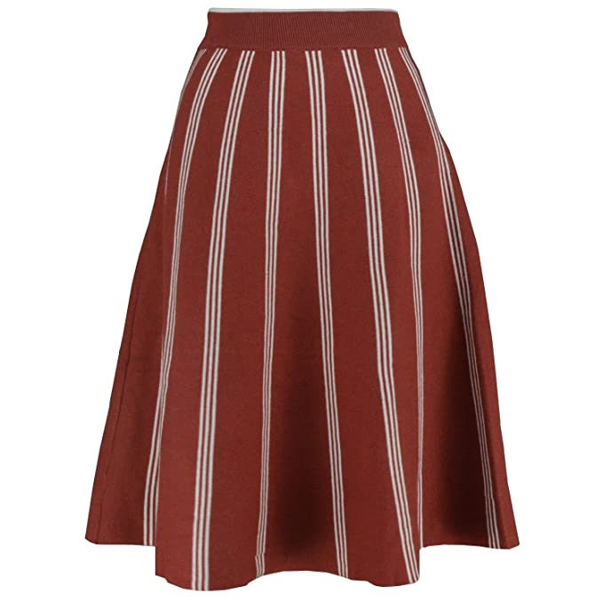 fc128053030f YSJ Women's Knitted Skirts A-Line Pleated Striped Midi Swing Skirt Petti (M,
