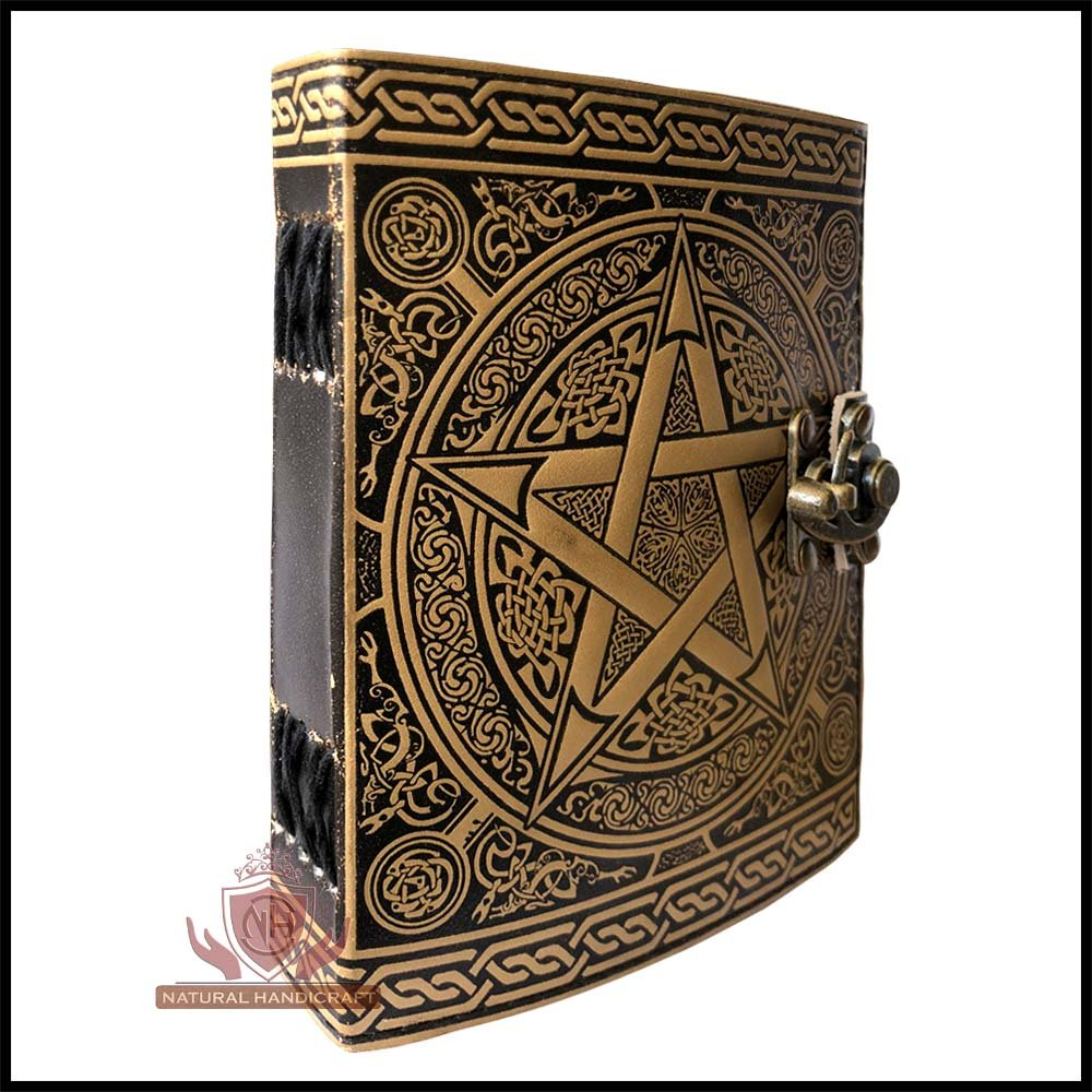Pentagram Embossed Handmade Witchcraft Book of Shadows Leather Journal Book Wicca Pagan Pentacle Notebook Office Diary College Book Poetry Book Sketch Book 5 x 7 Inches for Men and Women by Natural Handicraft (Image #5)