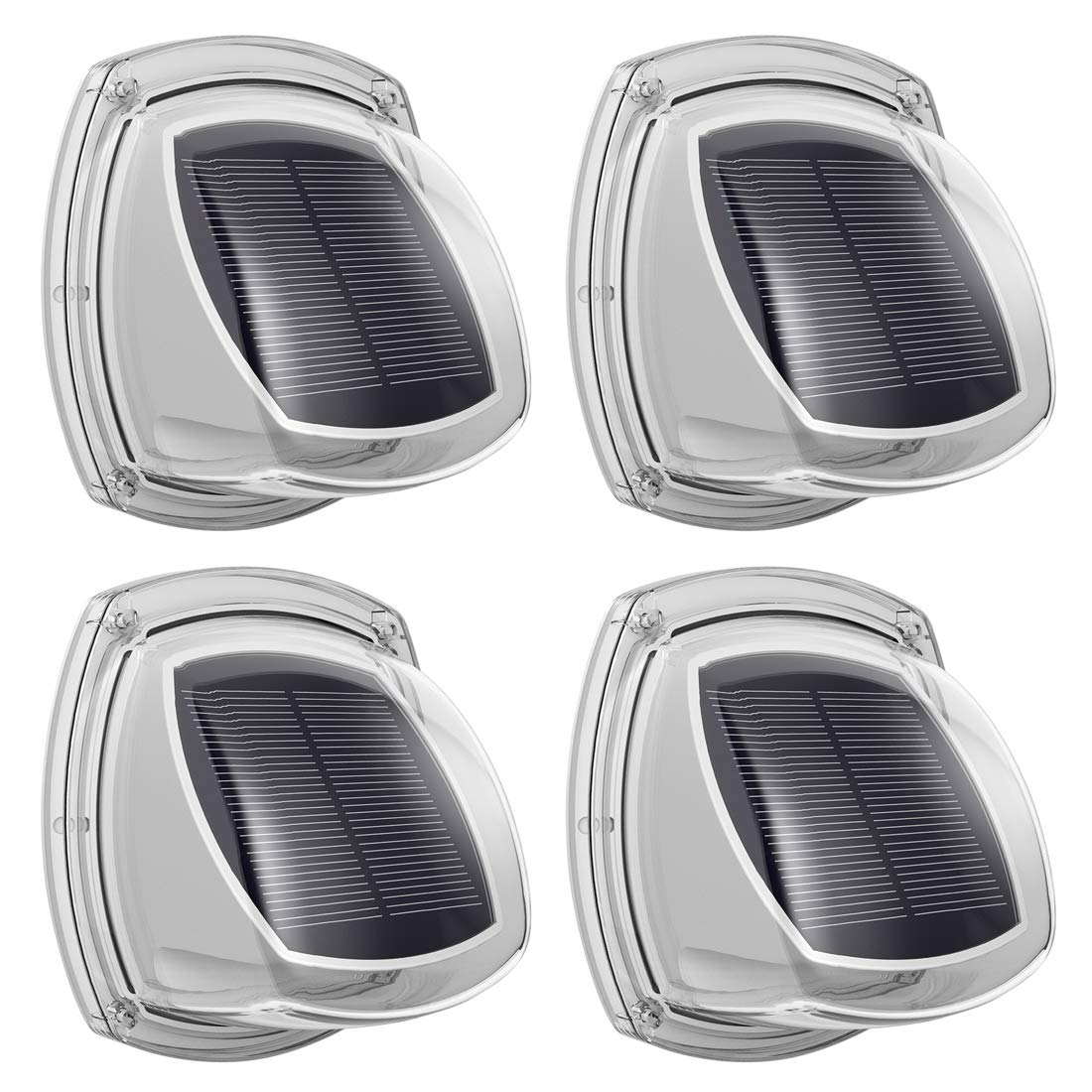Ankway Solar Garden Lights 2 Pack, IP67 Waterproof 4 LED Decorative Lights Outdoor with Faint Halo, High Efficiency, Light Control, Auto on/off, Ideal for Fence Wall Shed Step Patio Yard Stairway Gate