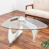 【デザイナーズ曲線美テーブル ガラスと木目の融合(イサム・ノグチの名作)】 非対称がおしゃれな実用的センターテーブル グラつき防止アジャスター付 丈夫な脚部 割れにくい安心強化ガラス (ホワイト色)