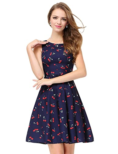Alisapan Women's Sleeveless Short Printed Casual Fit and Flare Dress 05488