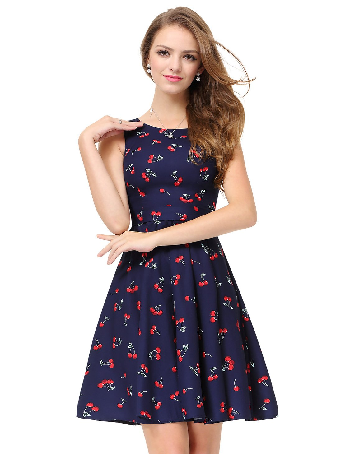 Alisapan Womens Round Neckline Printed Fit and Flare Graduation Party Dress 12 US Navy Blue