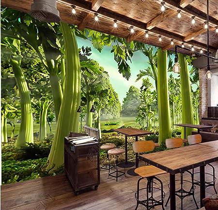 Personalizado 3D Mural Wallpaper Pintado a mano Apio Ver F Restaurante Supermercado Sa estar Fondos Papel tapiz impermeable_280X200CM: Amazon.es: Bricolaje y herramientas