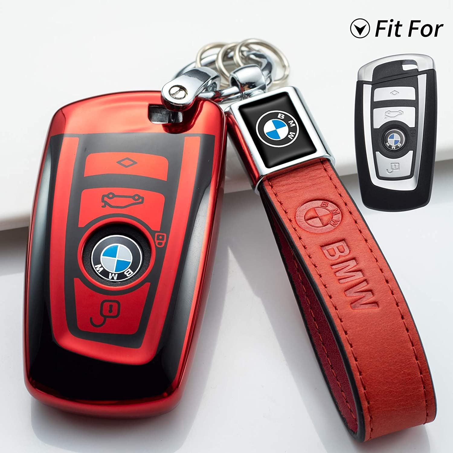 N//P for BMW Key Fob Cover Case for BMW 1 3 4 5 6 7 Series and Compatible with BMW X3 X4 M2 M3 M4 M5 M6 Keyless Smart Remote Pink