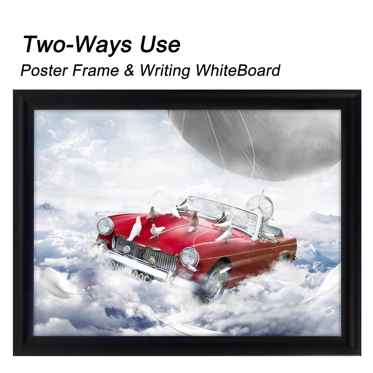 "T-Sign 24 x 36 inches Aluminum Snap Poster Frame Inclueds White Dry Earse Surface, 1"" Profile Wall Mounted Black - Two Use Methods, for More Display"
