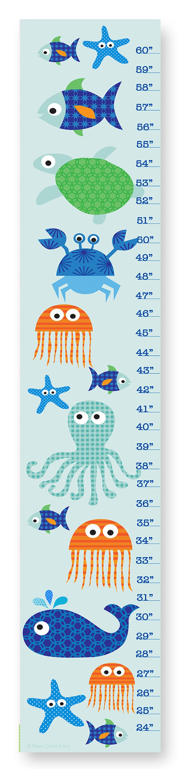 The Kids Room by Stupell Sea Life Blue Growth Chart, 7 x 0.5 x 39, Proudly Made in USA