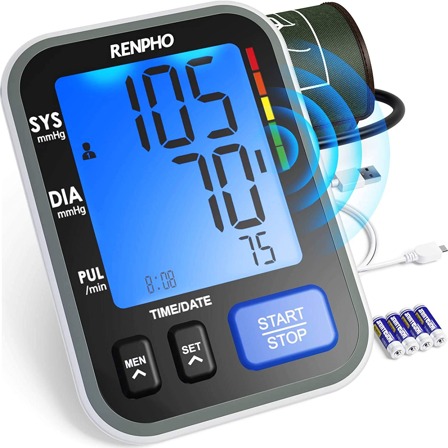Blood Pressure Monitor, RENPHO Blood Pressure Cuffs for Home Use with Speaker, Accurate Automatic Digital BP Machine with Extra Large Cuff 16.5 inch, Large Display, 2-Users, 240 Recordings