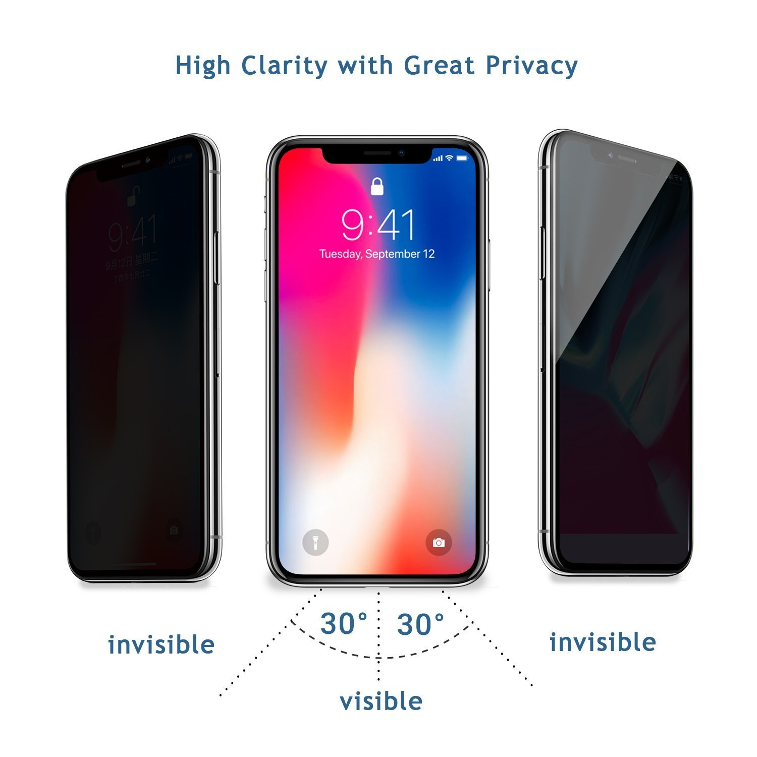 [2 Packs] iPhone X Privacy Screen Protector, Live2Pedal iPhone X Anti Spy Tempered Glass Screen Protector [3D Touch] [9H Hardness] For Apple iPhone X Privacy. by Live2Pedal (Image #2)