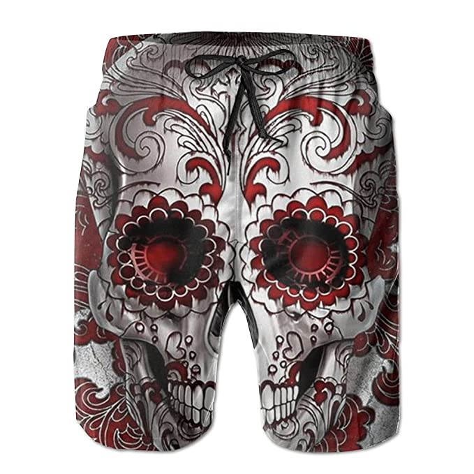 8a47ab860d Image Unavailable. Image not available for. Color: Sugar Skull Funny Mens  Boardshorts ...