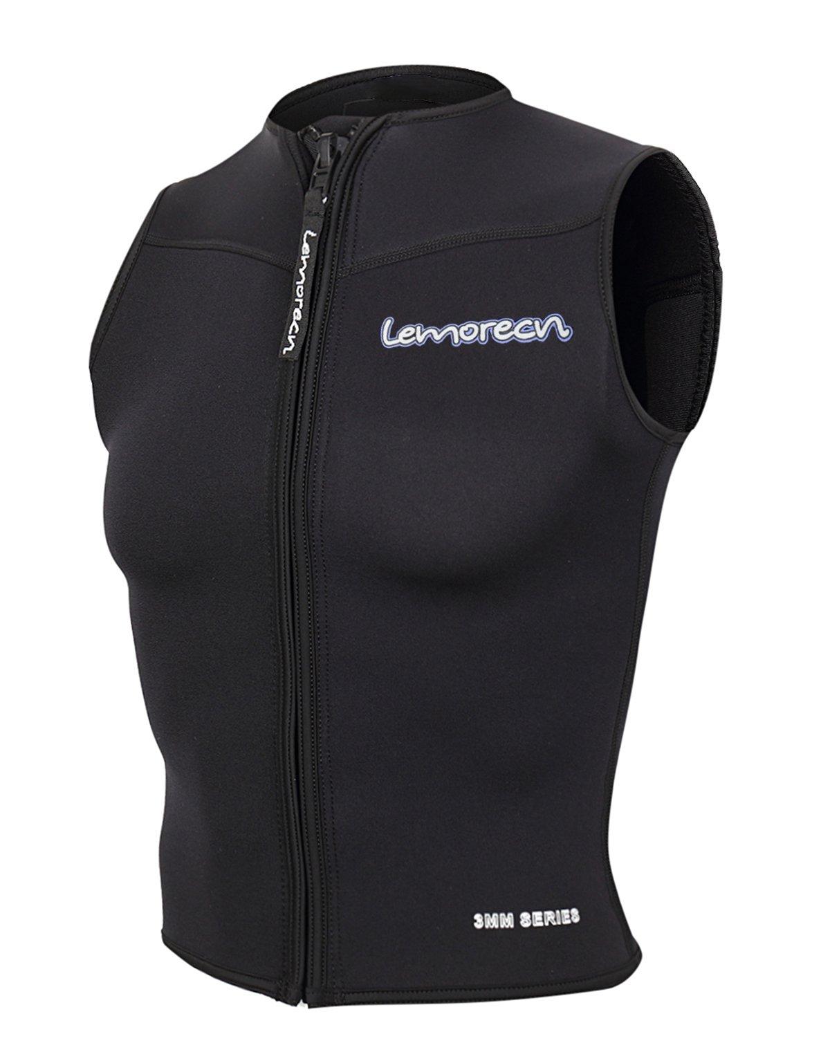 Lemorecn Women Wetsuits Top Premium Neoprene 3mm Zipper Diving Vest (2097black10)