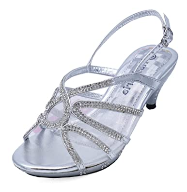 c8634177a7b4 Girls Childrens Silver Dress-Up Diamante Low-Heel Sandals Party Shoes Sizes  10-