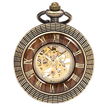Reloj de Bolsillo con Cadena - mecánico manchda Mens Imitacion Madera Luminoso Skeleton Dial + Caja de Regalo: Amazon.es: Relojes