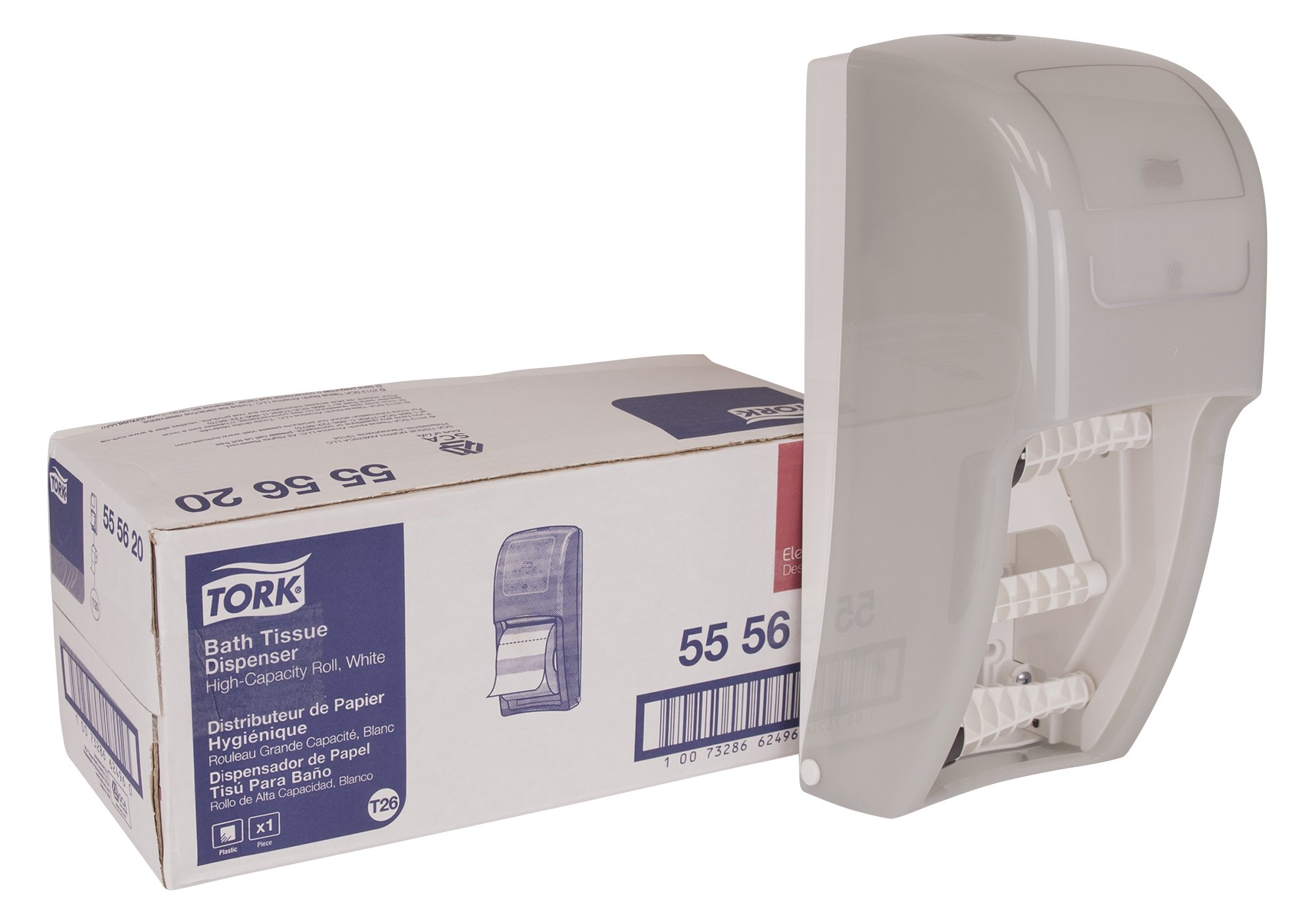 Tork 555620 Elevation High Capacity Bath Tissue Dispenser, Plastic, 14.2'' Height x 6.3'' Width x 6.46'' Depth, White (Case of 1) for use with Tork 110292A or 110291A by Tork