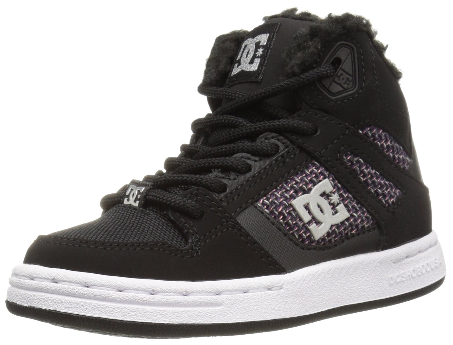 DC Girls Youth Rebound Wnt High Top Skate Shoes Sneaker, Black/White/Pink, 11.5 M US Little Kid
