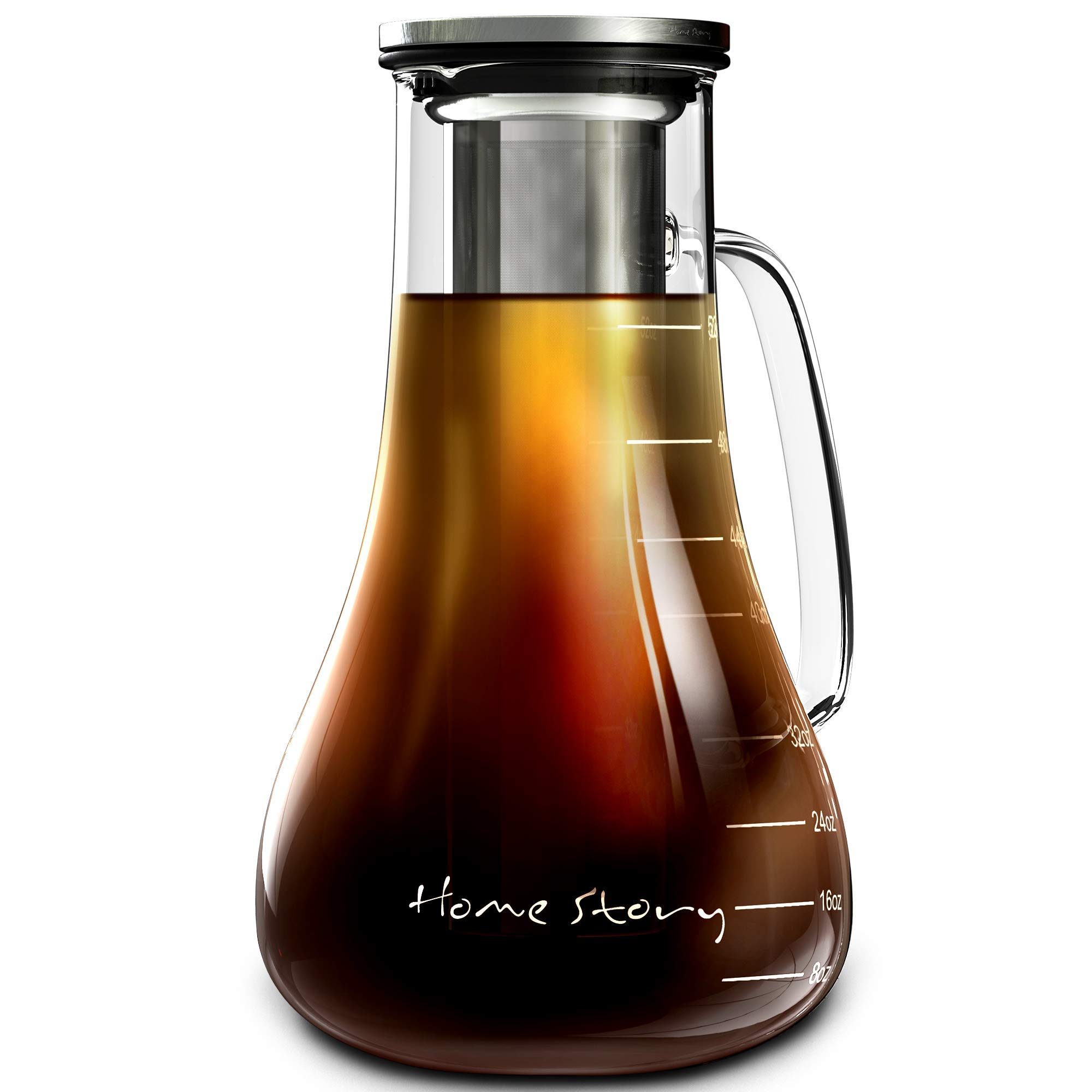 Cold Brew Coffee Maker | Glass Cold Brew Maker Pitcher 52 oz | Iced Coffee Maker Brewer Kit | Works Even as Large Cold Press Coffee Maker Pot or Hot Iced Tea Maker Infuser Carafe | Coffee Lovers Gift by Cold Brew Coffee Maker Home Story
