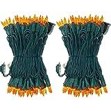 UL Certified 66 Feet 200 Count Orange Christmas String Lights, Pack of 2 Sets 33 Ft 100 Amber Commercial Grade Lights Set, Co