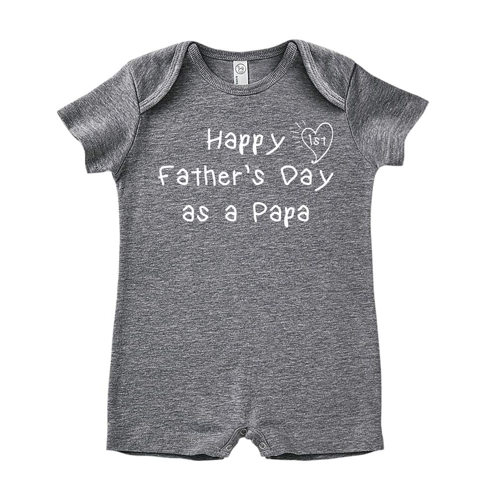 Kids Handwriting Happy 1st Fathers Day as a Papa Baby Romper