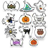 11PCS Halloween Cookie Cutters set, MSDADA Metal Stainless Steel Cutters Halloween Series Pumpkin, Bat, Cat Ghost…