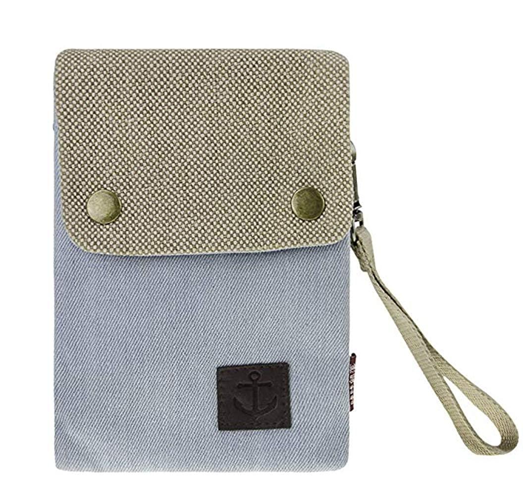 YaJaMa Denim Canvas Small Shoulder Crossbody Bag Cellphone Pouch Purse with 2 Strap for Women Girls