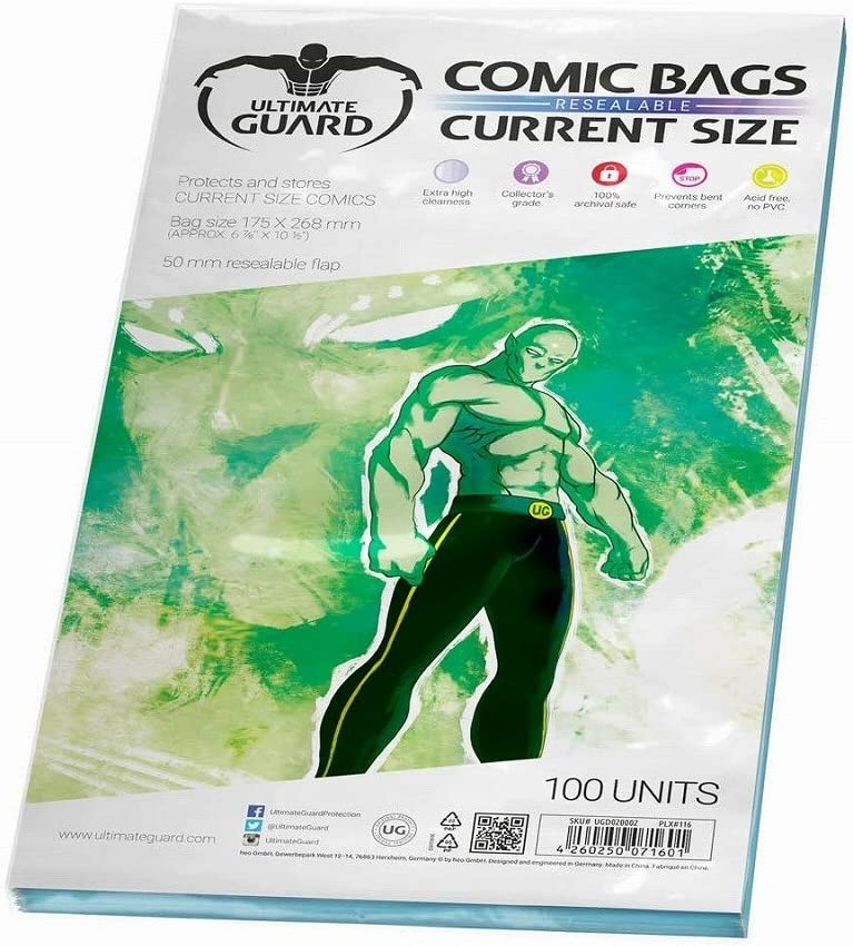 Ultimate Guard UGD020002 - Bolsas de Cómic Resellables, (versión en inglés), Pack de 100