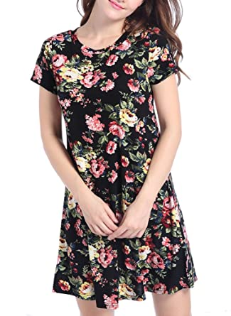06a0ef4f5d6 Sorrica Women s Blosue Tops Casual Floral Short Sleeve Swing Tunic Midi T-shirt  Dress (