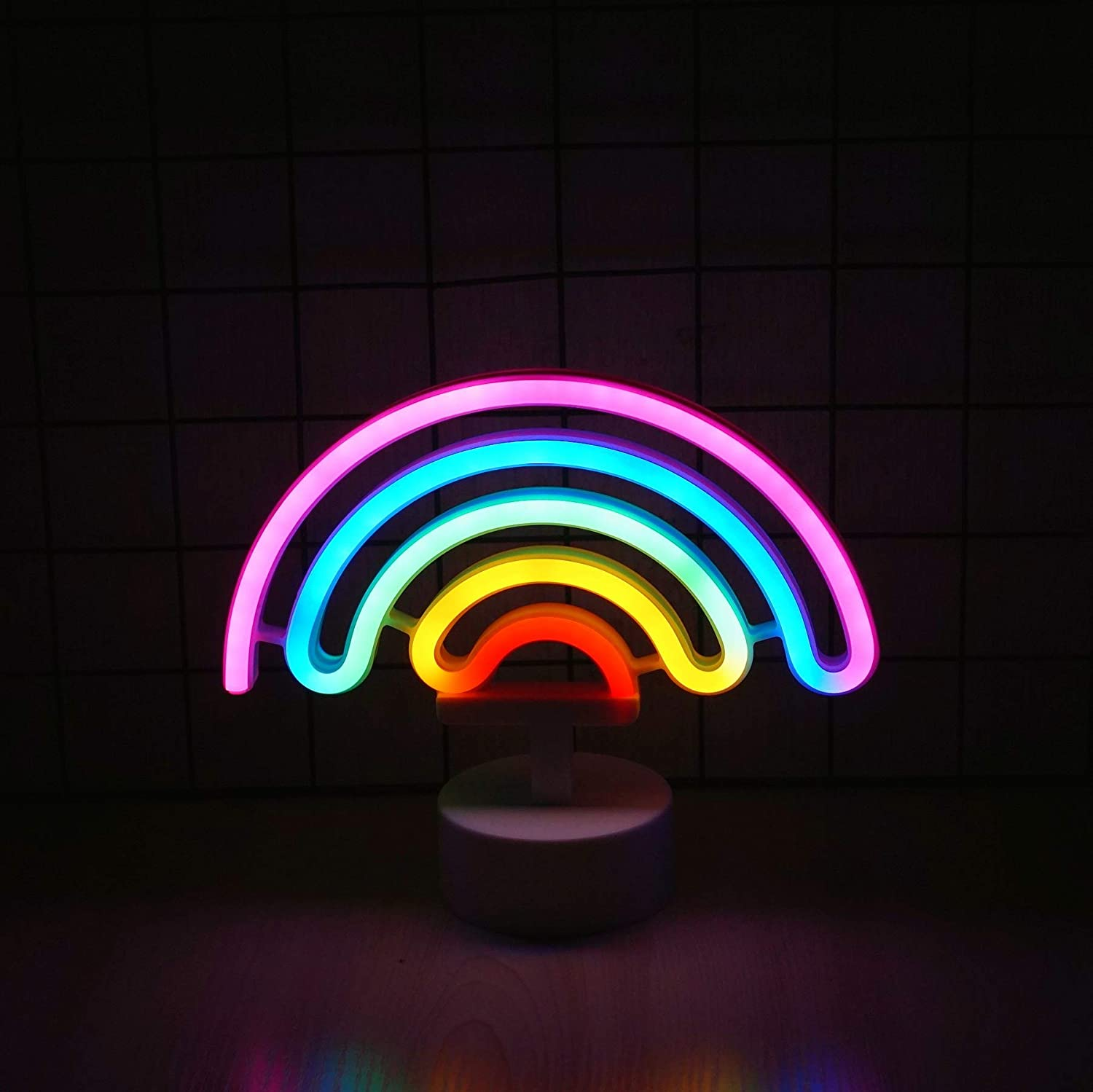 Ninight Rainbow Neon Light Cute Colorful Neon Rainbow Sign Battery or USB Powered Night Light as Wall Decor for Kids Room Living Room Festive Party with Base