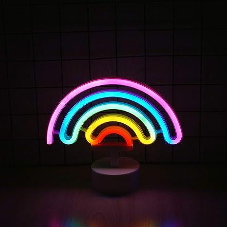 Amazon.com: Luz de neón arcoíris, lindo colorido cartel de ...