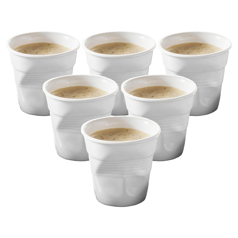 Set of 6 616096 Revol Froisses White Porcelain 2.75 Ounce Crumpled Espresso Tumbler