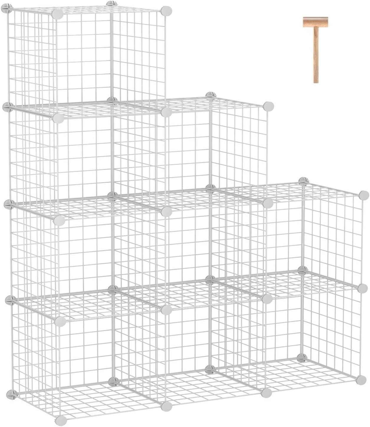 "C&AHOME Metal Wire Cube Storage, 9-Cube Bookcase, Stackable Storage Bins, Modular Book Shelf or Shoe Rack, DIY for Closet, Living Room, Kid's Room, Home Office, 36.6""L x 12.4""W x 48.4""H, White"