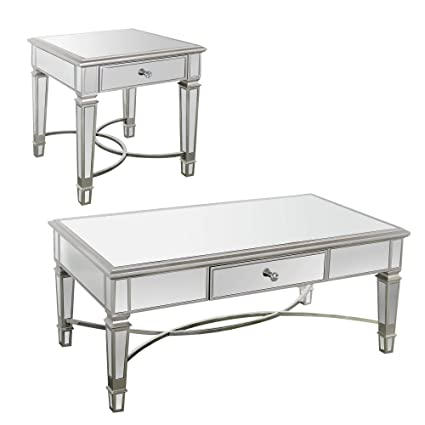 Overstock White Coffee Table.Amazon Com Overstock Furniture Silver Mirrored Accent Table Sets