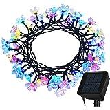 TOPLIFE イルミネーション ソーラー 充電式 ガーデンライト サクラ LED ライト 50灯 7m 8種類の点滅パターン ストリングライト 屋外 防雨 正月 クリスマス 結婚式 パーティ 飾り (ウォームホワイト) (レインボー4色)