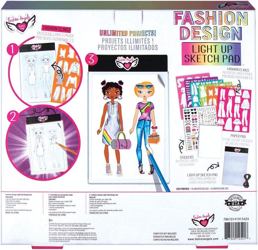 Amazon Com Fashion Angels Fashion Design Light Pad Sketch Set 12521 Light Up Tracing Pad Includes Usb Ultra Thin Tablet Multi Toys Games