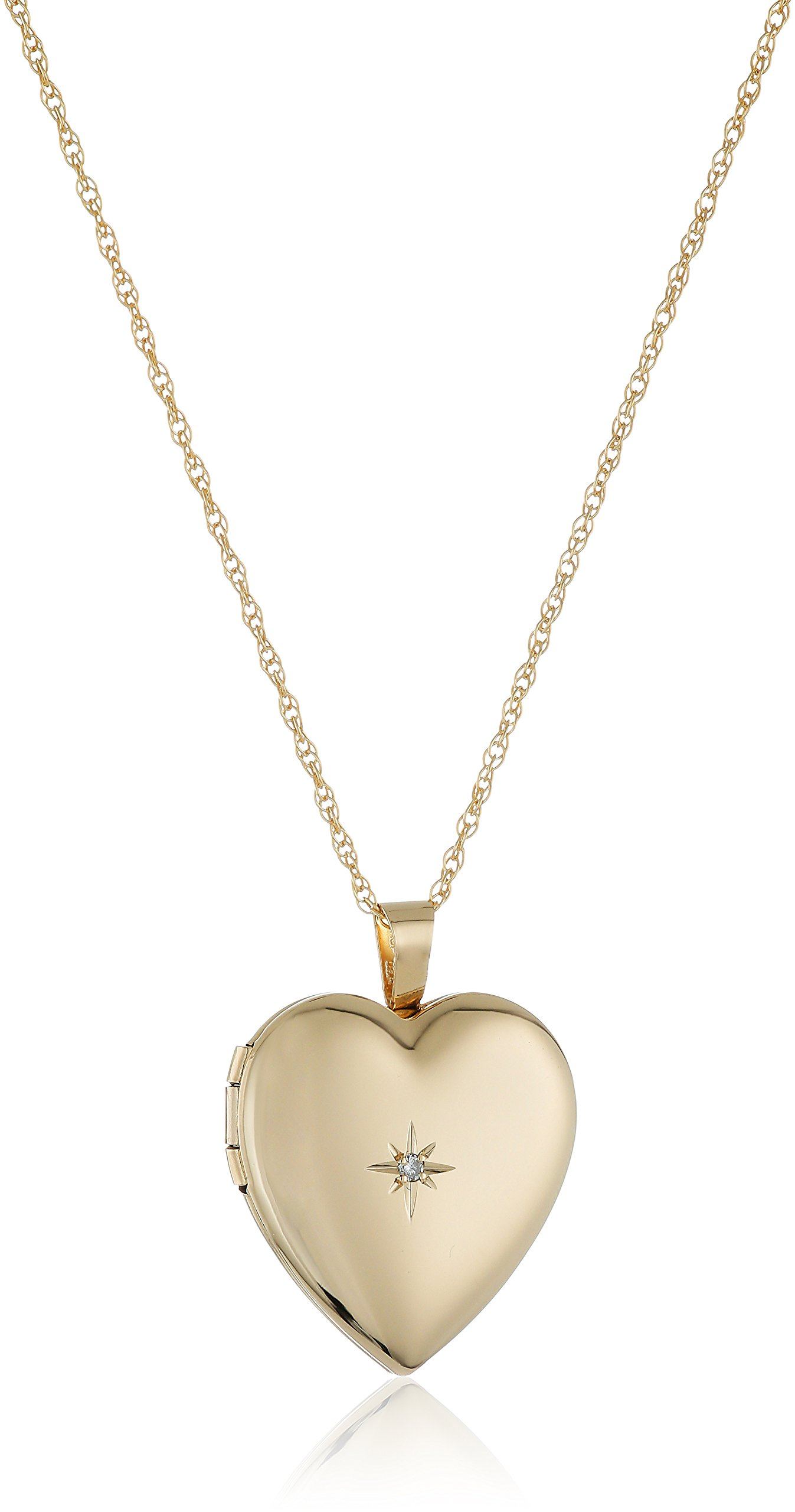 14k Gold-Filled Polished Heart Pendant with Genuine Diamond Locket Necklace, 18''