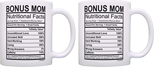 Amazon Com Birthday Gifts For Stepmom Nutritional Facts Label Gift Ideas For Stepmom 2 Pack Gift Coffee Mugs Tea Cups White Kitchen Dining