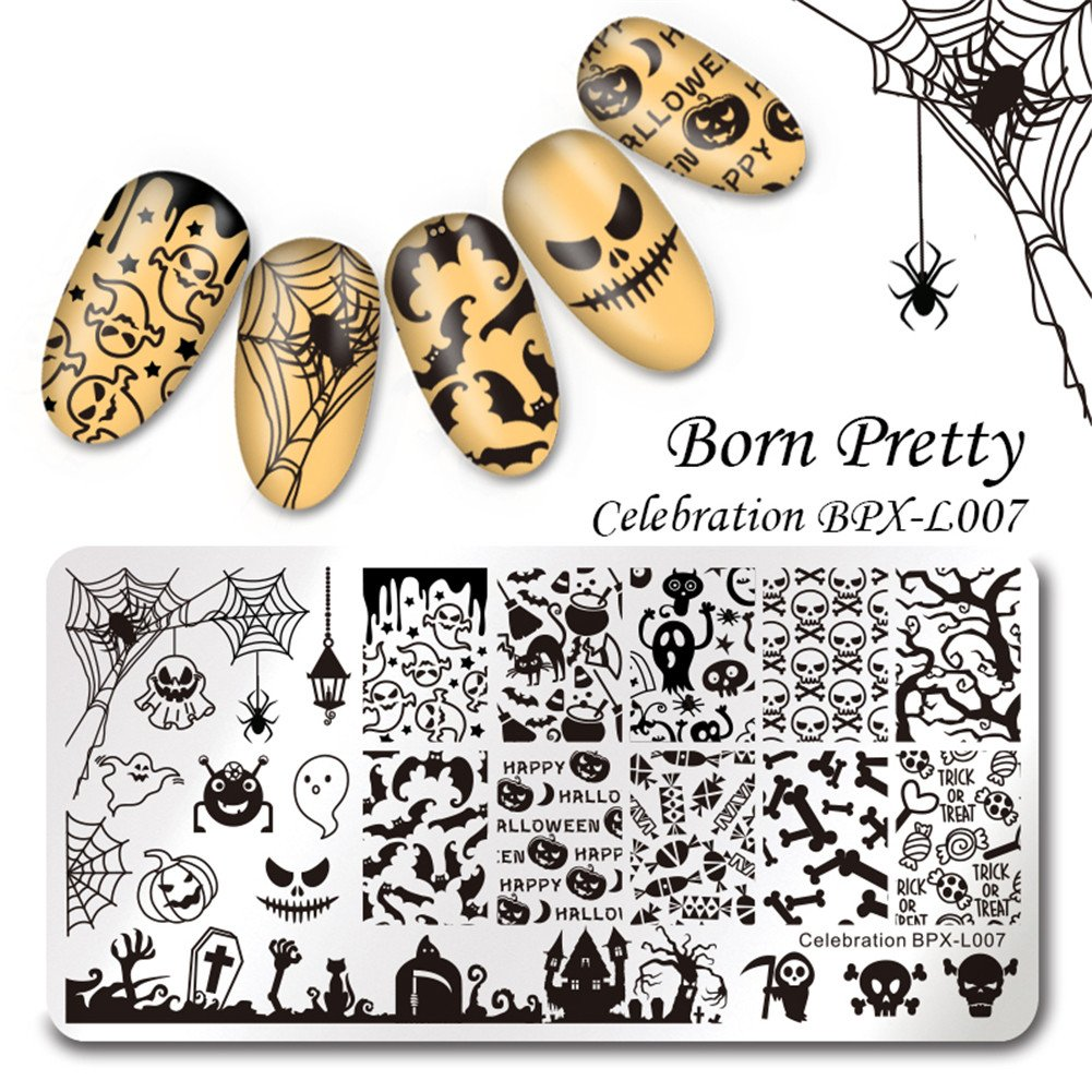 BORN PRETTY Nail Art Stamping Plate Halloween Theme Pumpkin Ghost Skull Bat Witch Template Image Plate for Manicure DIY Print