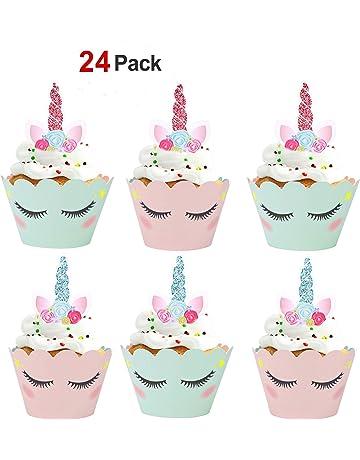 Konsait Unicornio Cake Toppers magdalenas Decoración y doble cara Cupcake Wrappers para Unicornio Fiesta y Tarta