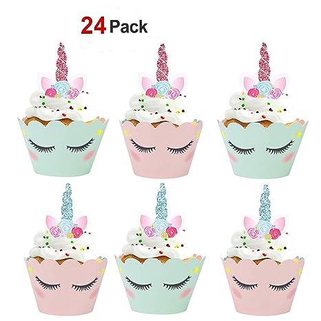 a06a381492 Konsait Unicorn Cupcake Decorations