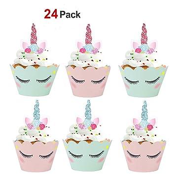 Konsait Unicornio Cake Toppers magdalenas Decoración y doble cara Cupcake Wrappers para Unicornio Fiesta y Tarta de Cumpleaños Decoraciones (24Pack): ...