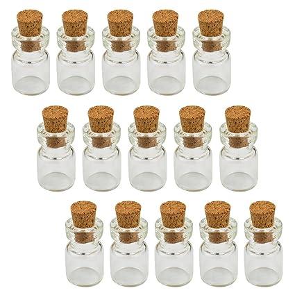Las pequeñas en miniatura botella de cristal con tapón de corcho y ojo tornillo, Marrywindix