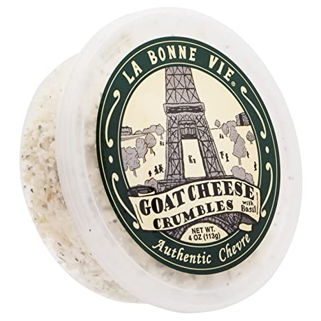 La Bonne Vie Crumbled Goat Cheese with Basil, 4 Ounce