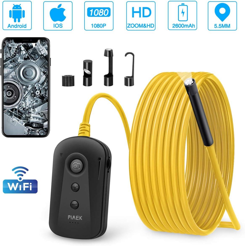 Endoscopio Movil Camara Inspeccion 1080P 5.5MM WiFi Endoscopio Camara 2.0MP HD Prueba de Agua IP67 2600mAh Endoscopica para iPhone iOS/Android/Smartphone/Tablet-5M