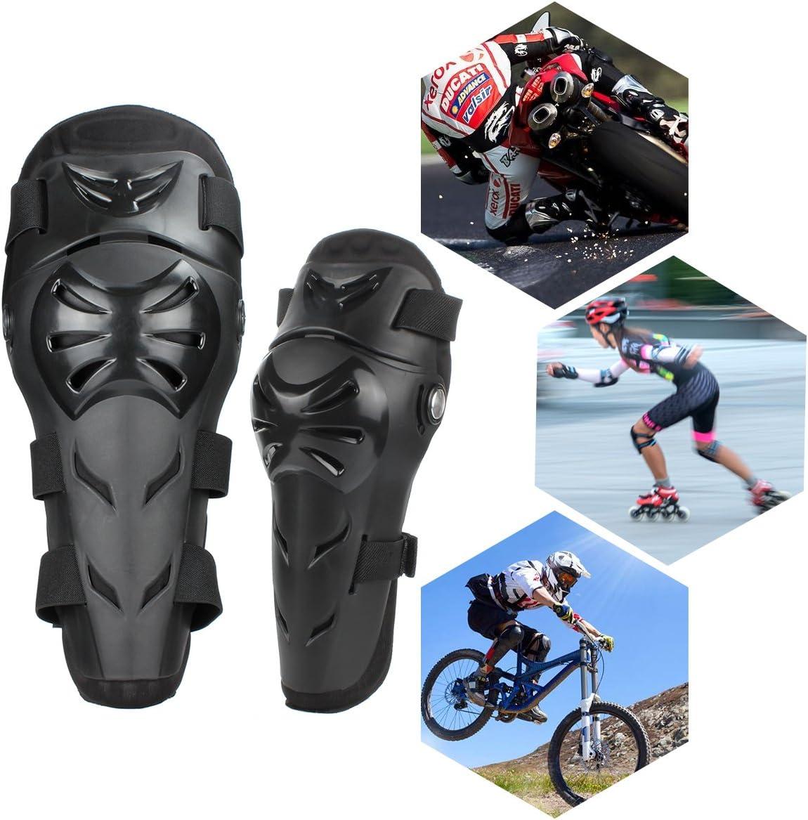 GES 4 Pcs Moto Genou Coude Protecteur Motocross Racing Genou Shin Garde Pads /Équipement de Protection pour les Adultes Noir