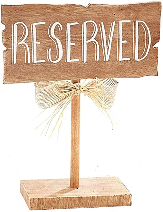 BNB Table Top D/écor Reserved Sign Wooden Guest Seating Marker Plaque on Stand at 10 in Tall x 7.75 in L x 3 in D Natural Woodgrain Brown Chalk White Wording Burlap and Raffia Bow on Post 1 per order 9728661