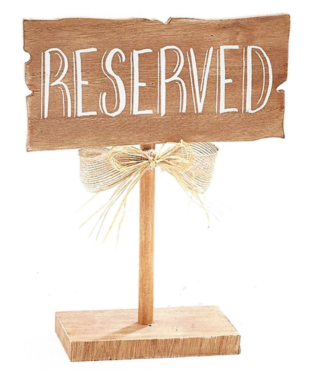 BNB Table Top Décor Reserved Sign Wooden Guest Seating Marker Plaque on Stand at 10 in Tall x 7.75 in L x 3 in D Natural Woodgrain Brown, Chalk White Wording Burlap and Raffia Bow on Post, 1 per order